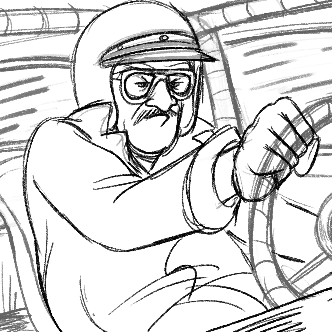 Black-and-white horizontal drawing of Wendell Scott wearing a helmet and race car uniform, driving a race car, glaring ahead as he grips the wheel.