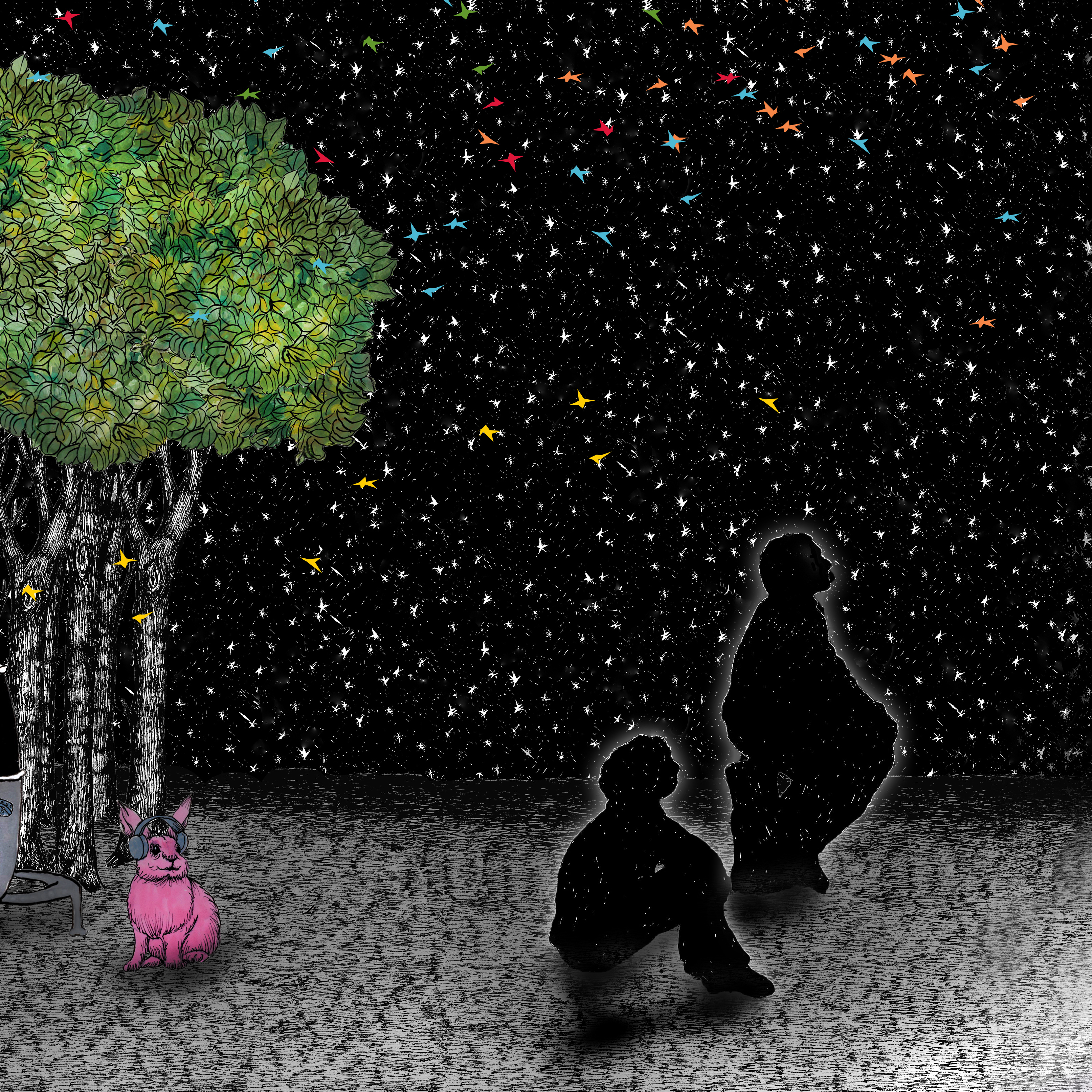 Drawing of two people in silhouette in front of a forest, looking out at the stars. Behind them in the forest is a pink bunny wearing headphones.