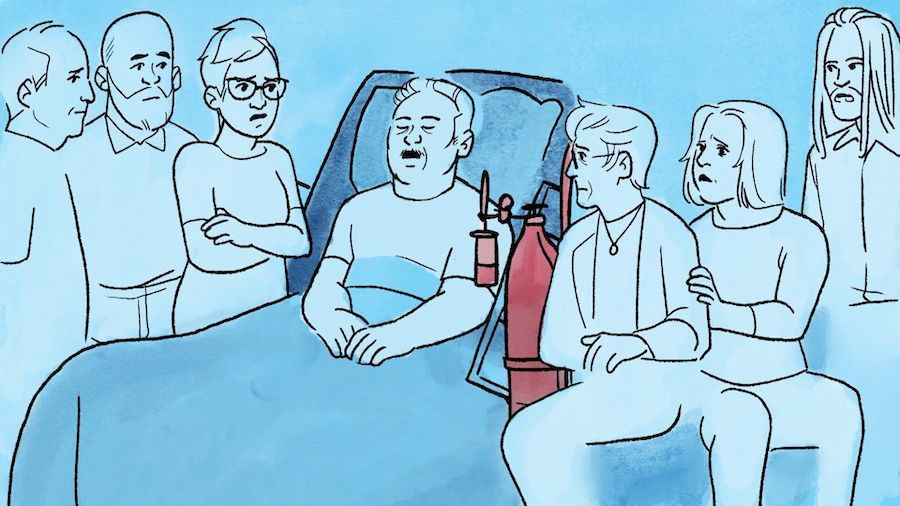 A blue illustration of an older man with white hair and a mustache lying in a raised bed with a red oxygen tank, surrounded by six family members to his left and right, who look at him with concern.