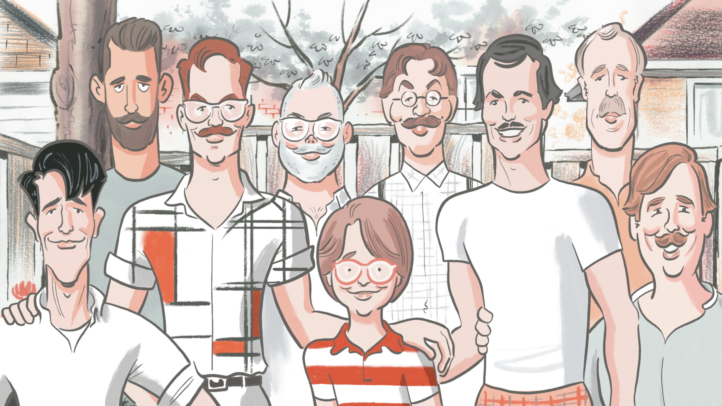 An illustration of a young white boy with a round haircut, big red glasses, and a red-and-white striped shirt, surrounded by eight white men in front of a picket fence. They are all smiling at the viewer.