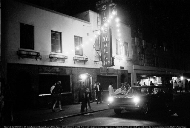 "The Stonewall Inn in New York, pictured in 1969, and to be featured in the film ""Stonewall Uprising"" by Kate Davis and David Heilbroner. The film examines a police raid on the establishment in Greenwich Village that touched off three days of unrest and marked a turning point in gay rights history. (Larry Morris/The New York Times)"